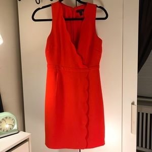 Bright orange J. Crew wrap dress